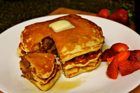 Bacon and Sausage Stuffed Pancakes